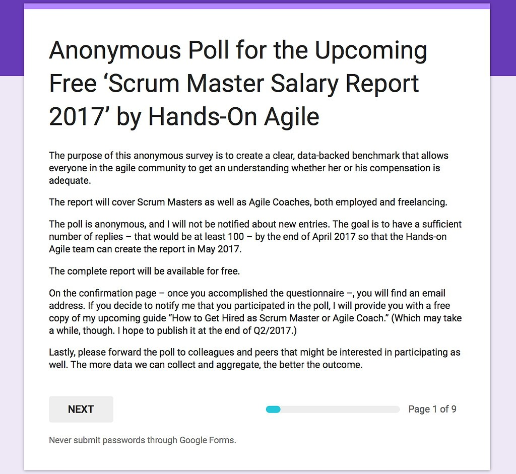 Hands-on Agile: Poll 'Scrum Master Salary Report 2017'